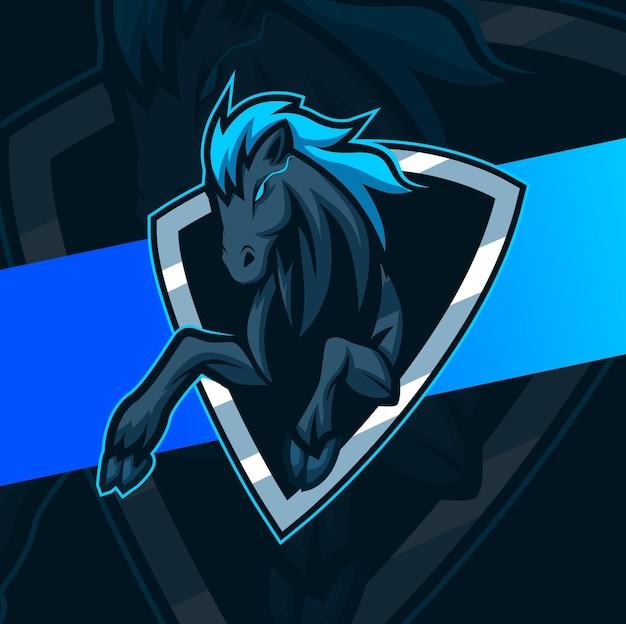 Disegno del logo mascotte mustang cavallo nero Vettore Premium
