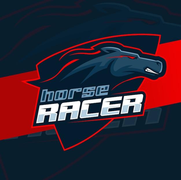 Mustang cavallo nero in esecuzione logo mascotte design Vettore Premium
