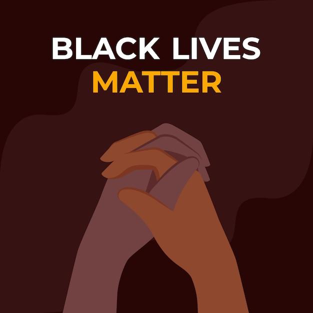 Le vite nere contano lo sfondo - mani di diversi colori della pelle unite Vettore Premium
