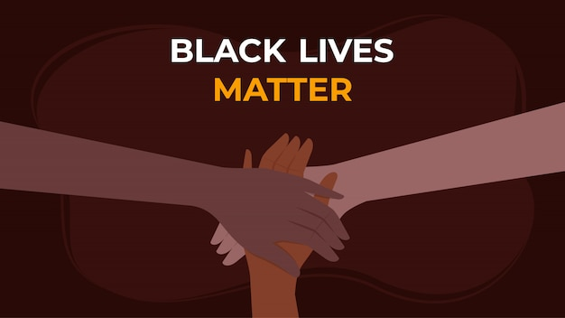 Black lives matter background - le mani si uniscono contro il problema sociale del razzismo Vettore Premium