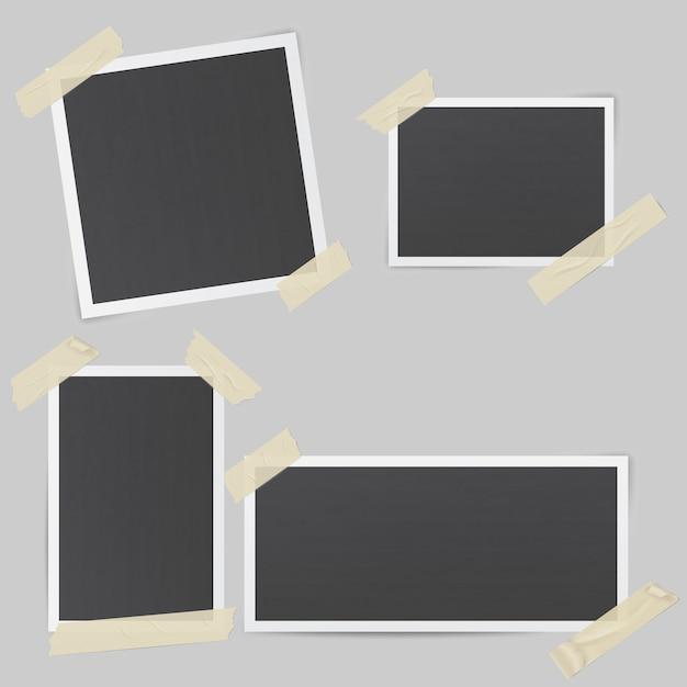 Cornici per foto nere Vettore Premium