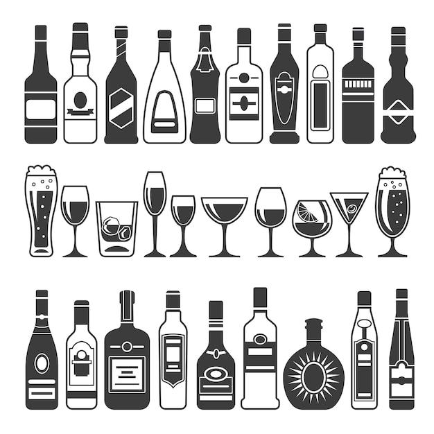 Immagini nere di bottiglie alcoliche Vettore Premium