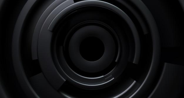 Sfondo nero radiale. sfondo astratto con forme concentriche nere. Vettore Premium