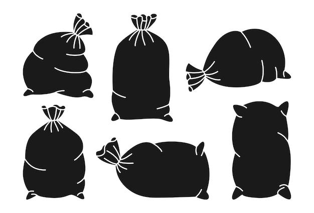 Set di sacchi neri. collezione di tela da imballaggio Vettore Premium