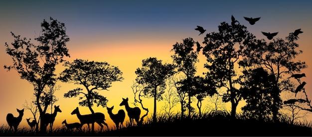 Sagoma nera di alberi e animali. Vettore Premium