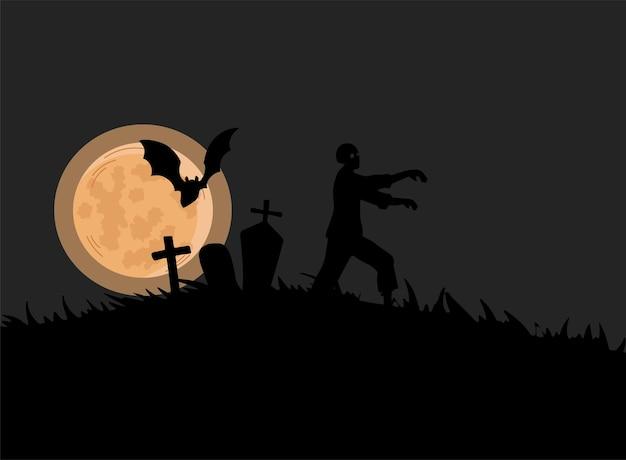 Siluetta nera di zombie che cammina sul cimitero Vettore Premium