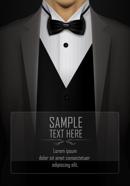 Abito nero e smoking con modello di papillon Vettore Premium