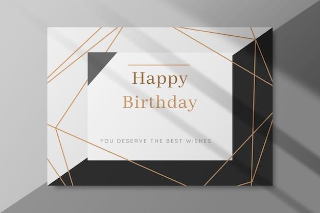 Carta di compleanno in bianco e nero Vettore Premium