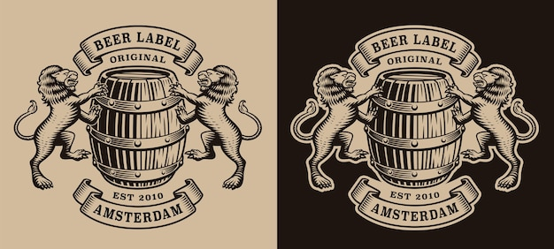 Emblema del birrificio in bianco e nero con un barile e leoni Vettore Premium