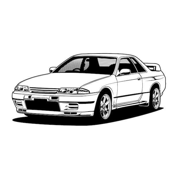 Illustrazione di auto in bianco e nero per la progettazione concettuale Vettore Premium