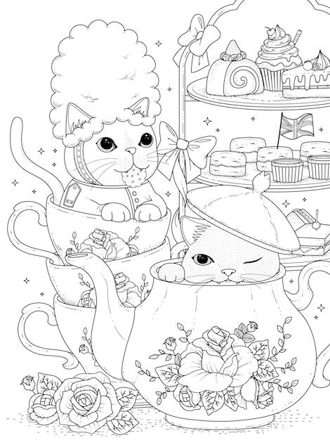Gatti bianchi e neri che bevono tè pomeridiano britannico, per la colorazione Vettore Premium