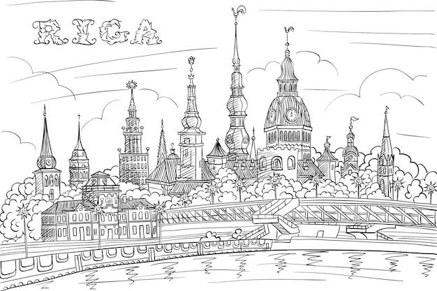 Disegno a mano in bianco e nero, schizzo della città vecchia e del fiume daugava, riga, lettonia Vettore Premium