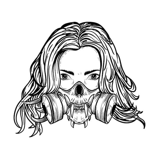 Donne di illustrazione disegnata a mano in bianco e nero con maschera antigas teschio Vettore Premium