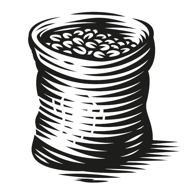Un'illustrazione in bianco e nero di un sacchetto di chicchi di caffè su sfondo bianco Vettore Premium