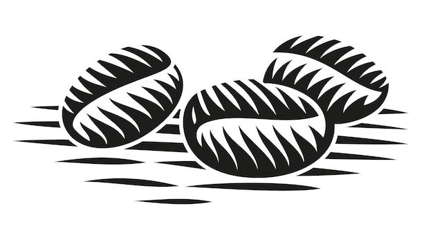 Un'illustrazione in bianco e nero di chicchi di caffè in stile incisione Vettore Premium
