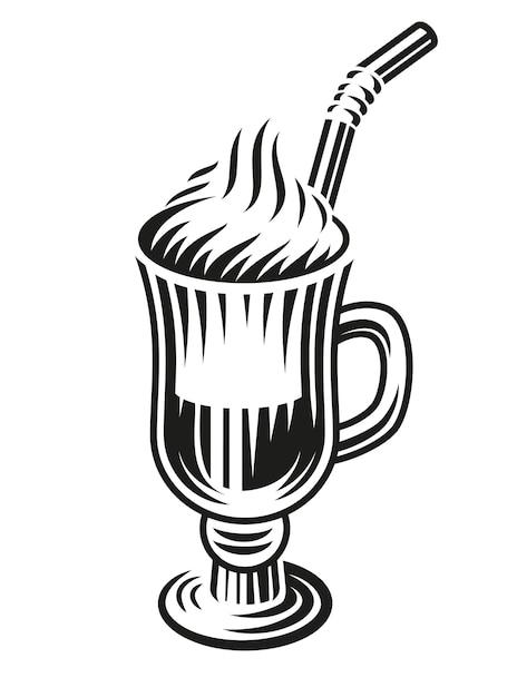Un'illustrazione in bianco e nero di un latte su sfondo bianco. Vettore Premium
