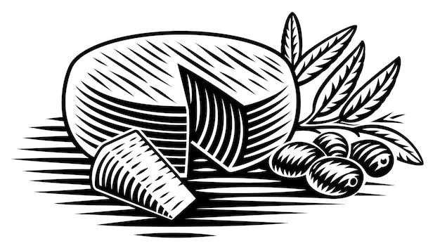 Un'illustrazione in bianco e nero di un pezzo di formaggio in stile incisione su sfondo bianco Vettore Premium