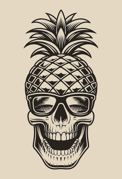 Illustrazione in bianco e nero di un teschio a forma di ananas. questo elemento è perfetto per le stampe delle camicie e anche per molti altri usi. Vettore Premium