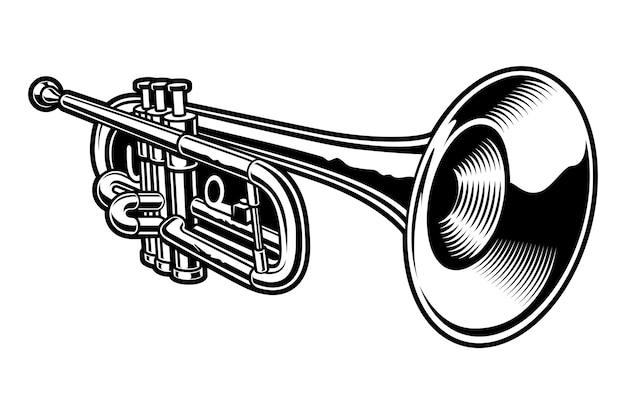 Illustrazione in bianco e nero della tromba su sfondo bianco. Vettore Premium