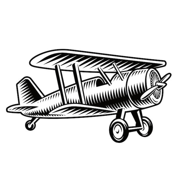 Un'illustrazione in bianco e nero di un aeroplano vintage isolato su sfondo bianco. Vettore Premium