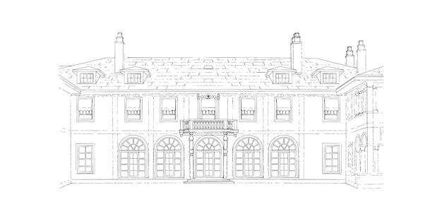 Schizzo in bianco e nero, location per matrimoni, architettura. Vettore Premium