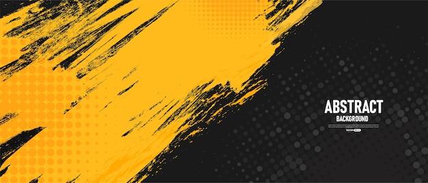 Sfondo astratto nero e giallo Vettore Premium