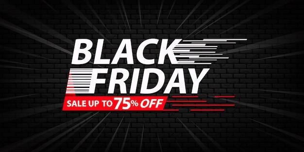 Modello di bandiera di vendita venerdì nero con sfondo di mattoni scuri Vettore Premium
