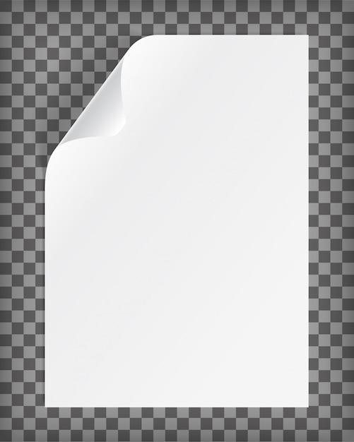 Foglio di carta a4 bianco con angolo arricciato Vettore Premium