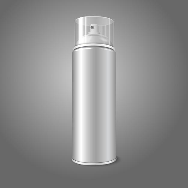 Bomboletta spray spray in metallo con tappo trasparente. per vernice, graffiti, deodorante, schiuma, cosmetici ecc. Vettore Premium