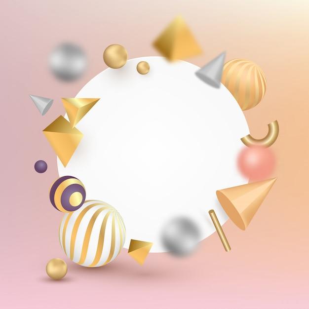 Insegna in bianco con effetto geometrico di forme 3d sulla superficie di pendenza. Vettore Premium