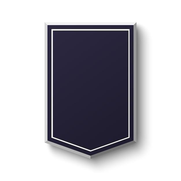 Schermo blu in bianco su priorità bassa bianca. banner semplice e vuoto. illustrazione. Vettore Premium