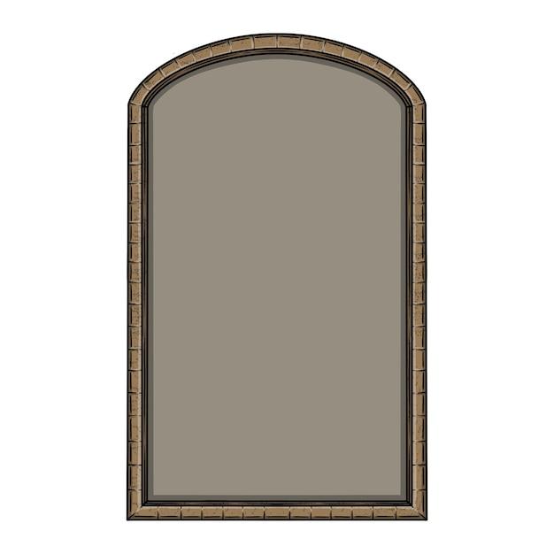 Disegnata a mano vintage cornice di mattoni in bianco Vettore Premium