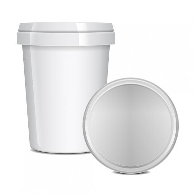 Contenitori vuoti della tazza dell'alimento per alimenti a rapida preparazione, dessert, gelato, yogurt o spuntino. Vettore Premium