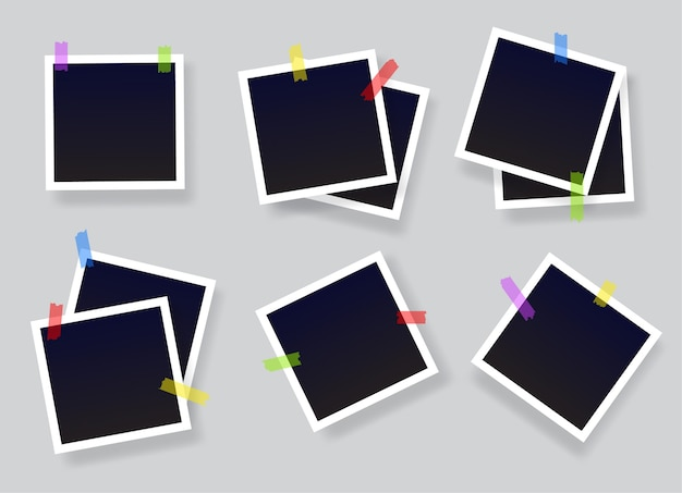 Cornice per foto istantanea vuota incollata su nastro. cornici per foto vintage vuote nere con strisce adesive. Vettore Premium