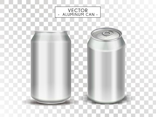 Lattine metalliche vuote per usi, sfondo trasparente, illustrazione Vettore Premium