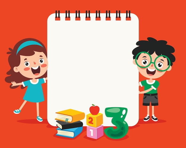 Documenti di nota in bianco per l'istruzione dei bambini Vettore Premium