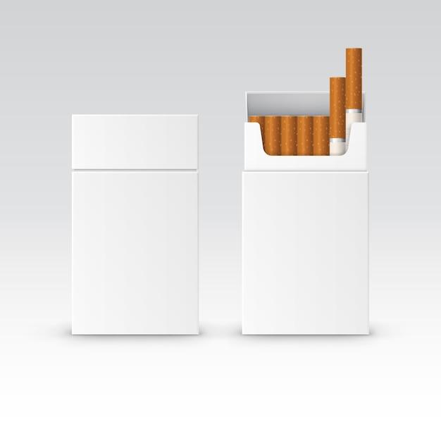 Pacchetto pacchetto vuoto scatola di sigarette Vettore Premium