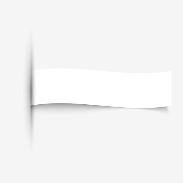Insegna della carta in bianco con le ombre su fondo bianco Vettore Premium