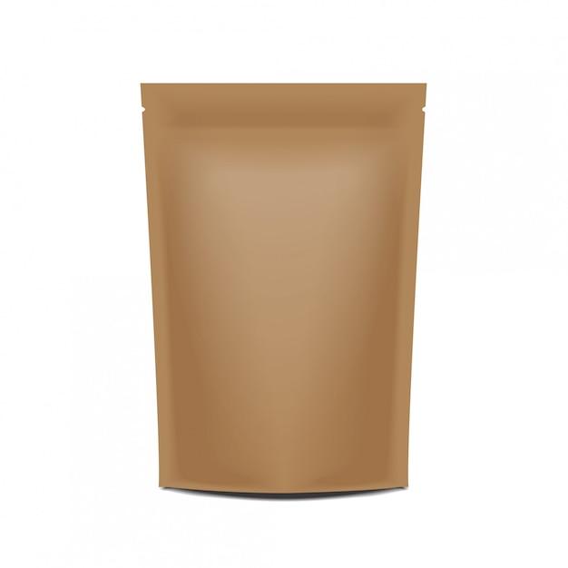 Sacchetto bustina busta confezione carta bianca confezione con cerniera. Vettore Premium