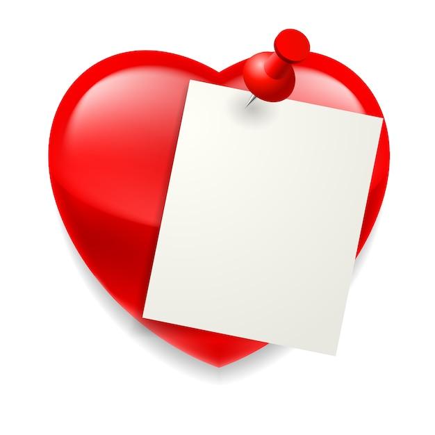 Foglio di carta bianco appuntato sul cuore rosso lucido Vettore Premium