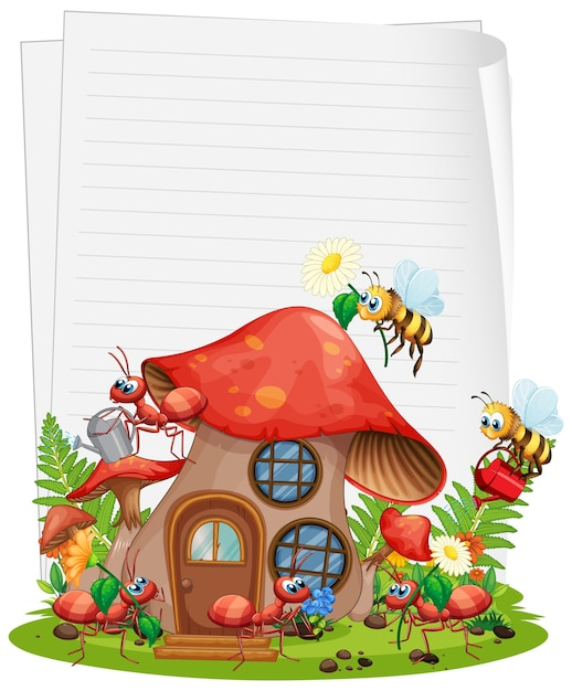 Carta bianca con casa dei funghi e set da giardino degli animali isolato Vettore Premium