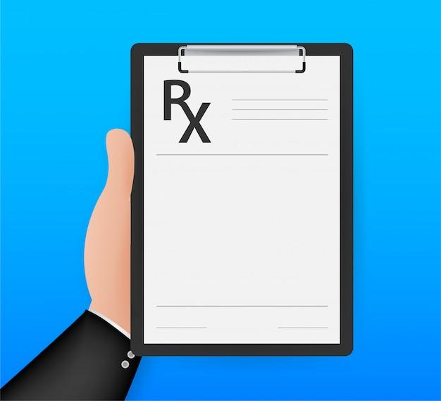 Modulo di prescrizione vuoto rx isolato su sfondo bianco. illustrazione di riserva. Vettore Premium
