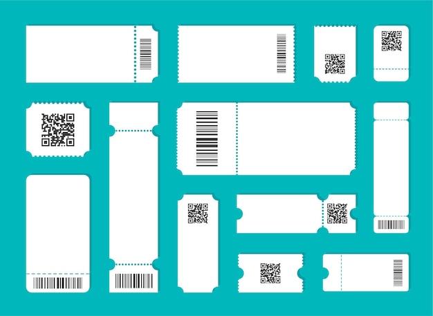 Modello di biglietto vuoto impostato con qr e codice a barre. Vettore Premium