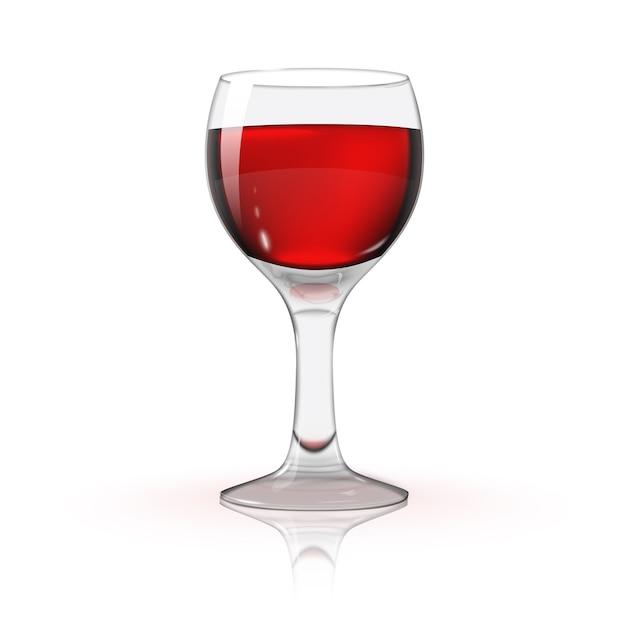 Foto trasparente vuota realistica isolata sul bicchiere di vino bianco con vino rosso Vettore Premium
