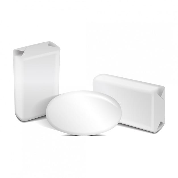 Sapone bianco in alluminio o scatola di carta. Vettore Premium