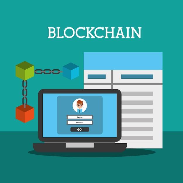 Internet blockchain wallet contratto di password Vettore Premium