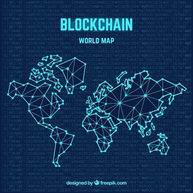 Blockchain concetto di mappa del mondo Vettore Premium