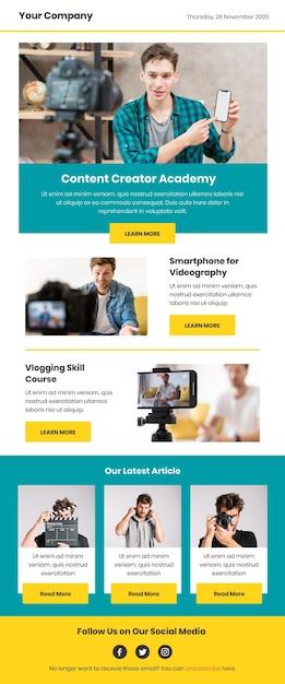 Modello di email di blogger con foto Vettore Premium