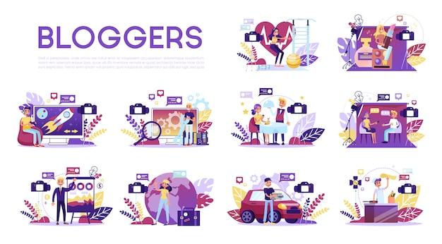 Set di blogger. vari video blogger fanno la recensione. Vettore Premium