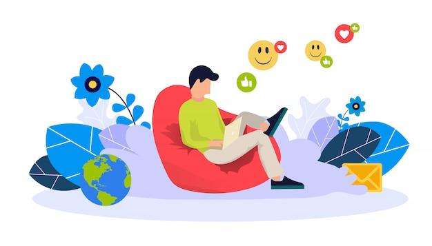 Modello web di blog e freelance Vettore Premium